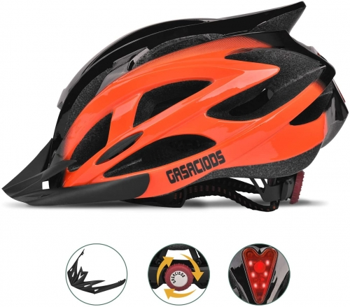 Mountain Bike Helmet, Adjustable Lightweight Bicycle Helmets For Adult, Road Helmet With Visor And Rear LED Light