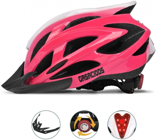 Bike Helmet, Adjustable Lightweight Bicycle Helmets for Adult, Road Helmet with Visor&Rear LED Light Gasaciods