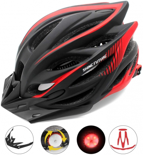 shine future Adult Bicycle Helmet, Adjustable Lightweight Bike Helmets for Men and Women, Road Bike and Mountain Bike Helmet with Removable Visor and