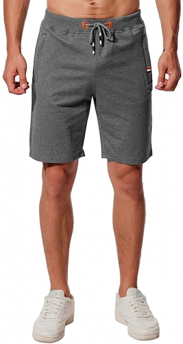 Men's Casual Shorts Cotton Sport Jogger Classic Fit Summer Shorts Elastic Waist Zip Pockets