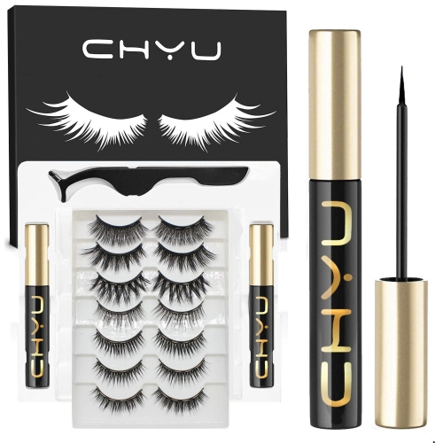 Magnetic Eyelashes Kit with Eyeliners, Natural Look 7 Pairs Reusable Magnets False Eyelashes, No Glue Comfortable Feeling Eyelashes Set for Party, Dai