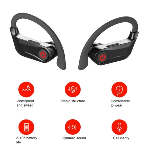 Bluetooth Headphones Deep Bass HiFi Stereo Sound Sports True Wireless Earbuds Ear-Hook Bluetooth Earphone
