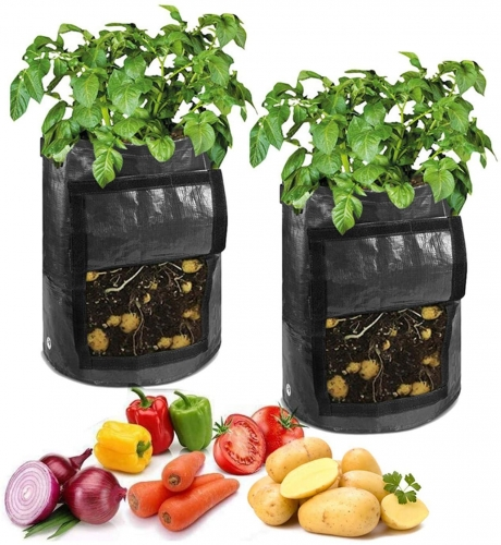 Plant Bag 7 Gallon Plant Bag with Flap and Handles Velcro Fastening Window Vegetable Peanut Growing Box Bucket Pot for Transplanter Hand Rake