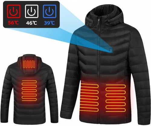 Electric Heated Jackets Men's Heated Jacket USB Heated Clothing Winter Warm Lightweight Hoodie Down Jacket Coat for Outdoor Work and Daily Wear