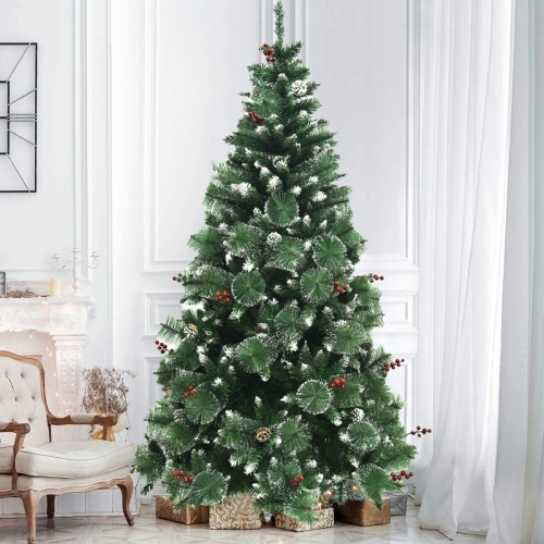 (Germany Warehouse )Christmas Tree 180 cm with Snow and Cones (diameter approx. 78 cm) Approx. 800 Tips, Flame Retardant Christmas Tree with Quick Ass