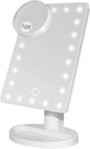 Makeup Mirror, Cosmetic Mirror, 22 LED Lights, Tabletop Mirror, LED 10x Magnifying Mirror, Stand, USB Battery, 180° Adjustable