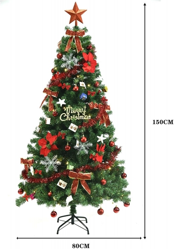 (Japan Warehouse) Christmas Tree 59.1 inches (150 cm), Christmas Tree Set, LED, Decorative Light, Christmas Ornament, Easy Assembly, Convenient Storag